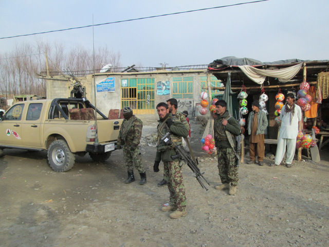 ANA soldiers proving valuable support on the busy Afghan streets