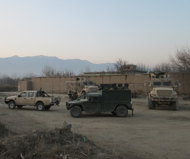Joint Czech-Afghan patrol leaving the air field