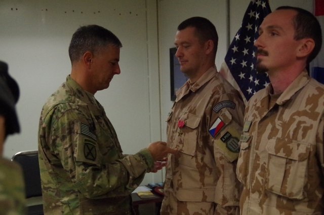 CWO Lavicka receiving the Bronze Star Medal