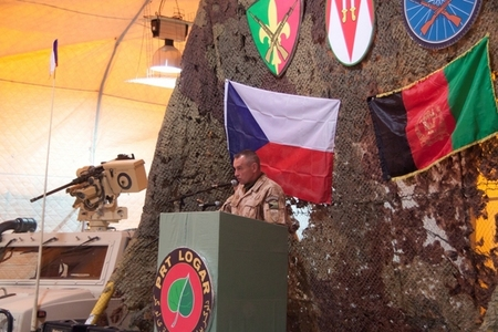 Colonel Josef Kopecky, commander of 10th unit, addresses soldiers and guests