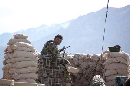 Afghan soldier at the Chinarey observation post