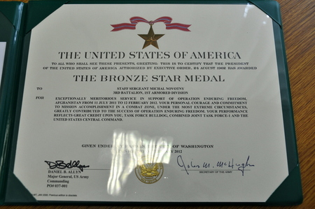The Bronze Star Medal certificate for Staff Sergeant Michal Novotny