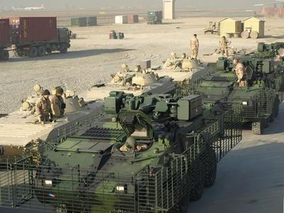 Unloaded Pandurs along with BVP-2 armoured personnel carriers, which fly back home after accomplishing their mission in Afghanistan (end December 2010)