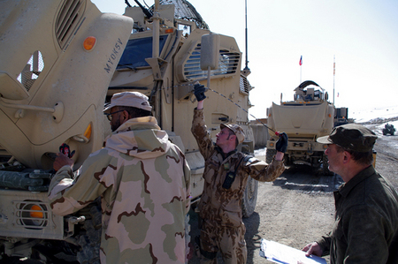 Checking technical condition of MRAP vehicles in cooperation with Americans