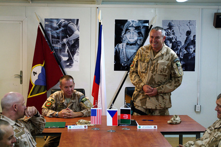 Commander of the 10th ACR Unit PRT Logar Colonel Josef Kopecky speaks to the staff