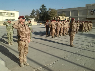 9th Guard Company at Bagram lining up to commemorate the Anniversary