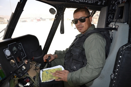 An Afghan pilot of Mi-17