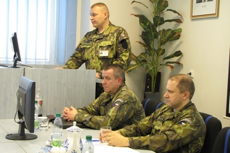Colonel Jaroslav Ackermann (standing) is Czech Task Force NRF 2013 commander, Colonel Karel Schuch, and Colonel Vaclav Vlcek (right) from CZ MoD
