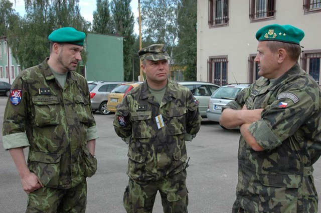 Deputy Chief of the General Staff Major General Jiri Halaska talks to director of the Military History Institute Colonel Ales Knizek