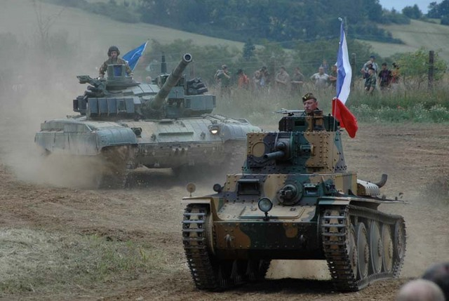 Tank LT-38 followed by the modernised tank T-72 M4CZ