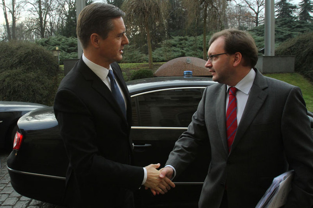On arrival: The State Secretary of Slovak Ministry of Defence, Milos Koterec, being welcomed by Director of Defence Policy Department Jan Jires