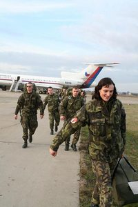 A rotation arrives at the Pristina Airport, Kosovo, 2007