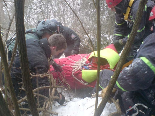 Rescuing a woman who fell out of an outlook tower in the mountains (February 2010)