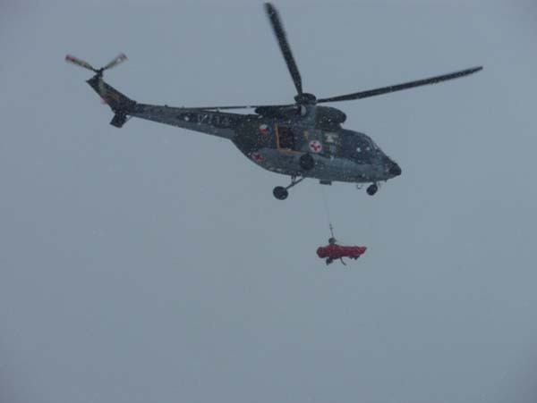 W-3A from Pilsen-Line SAR base with a slung patient (February 2010)