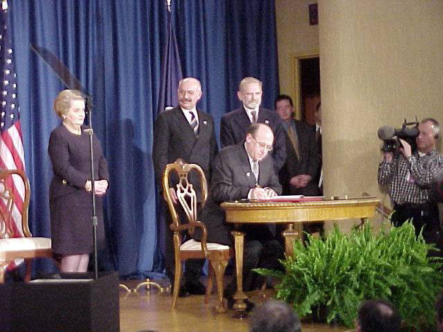 Albright, Martonyi, Geremek and sitting Kavan at the Harry S. Truman Library in Independence, 12th March 1999