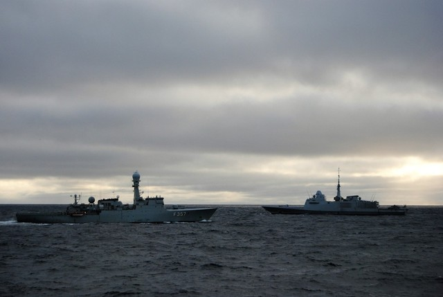 Danish patrol ship THETIS and French frigate LANGUEDOC taking part in a joint exercise with the Gripens