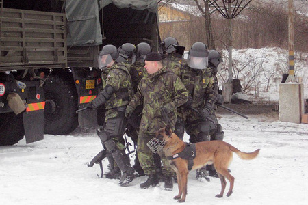 Training in Kosovo - Czech squad in a defence position supported with a dog, 2011