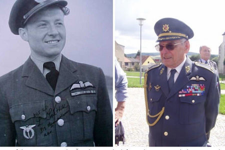 One of the visitors, Miroslav Štandera, on the left as a lieutenant with the RAF, on the right as former Brigade General of the Czech Air Force