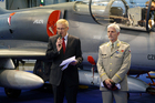 From the Press Conference of Minister Vlastimil Picek and General Petr Pavel to IDET 2013 in front of ALCA L-159 subsonic attack light combat aircraft