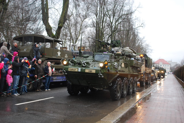 The head of the convoy arriving in Liberec