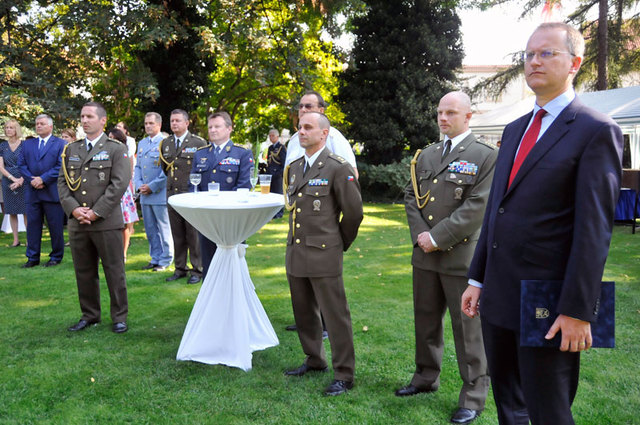 Guests at the Polish Embassy. Front right Daniel Kostoval, Deputy Defence Minister