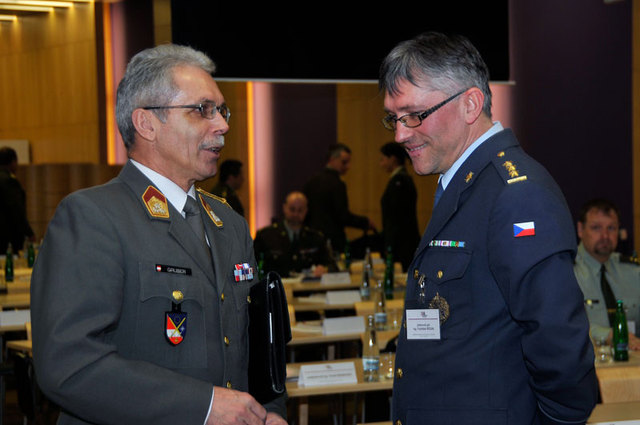 Colonel Richard Gruber, Austrian Bundesheer, and Colonel Frantisek Ridzak, Director of Communication and Information Systems Agency of Czech MoD