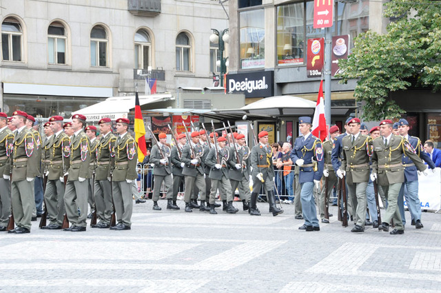 Following the opening concert of the Central Band of the ACR, The Honour Guard units of the Central European region arrive at Wenceslas Square, Prague