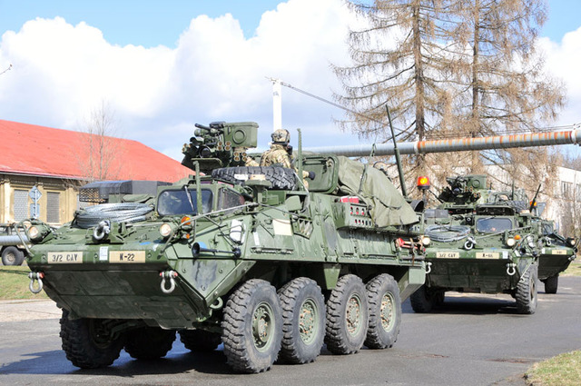 Stryker armoured personnel carriers of the 2nd Cavalry Regiment