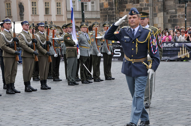 DRILLFEST 2015 - Colonel Milan Virt, Commander of the Garrison Command of Prague, salutes the parade teams