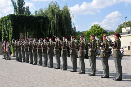 Unit of the Honor Guard of the Czech Armed Forces fire three volleys from their rifles