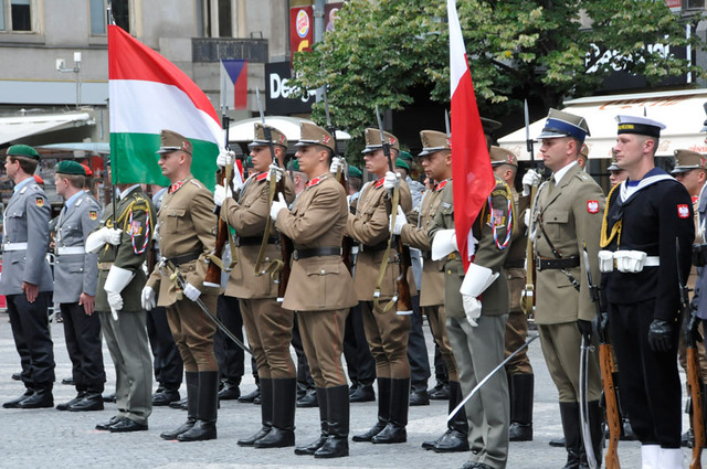 A parade unit of the 32nd Parade Battalion from Budapest, Hungarian military, commanded by Lieutenant Endre Gombos, presenting its refined skills