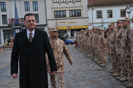 Prime Minister Petr Necas and Colonel Martin Stochl greet soldiers