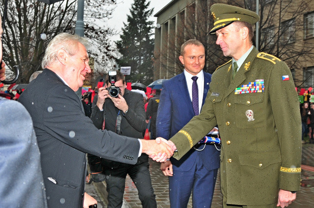 General Bohuslav Prikryl's welcoming the President of the Czech Republic, Milos Zeman, on a visit to the University of Defence in Brno on 1st December