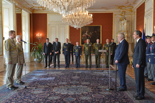 Ceremony at Prague Castle: Both Generals facing President Milos Zeman and Minister of Defence Martin Stropnicky
