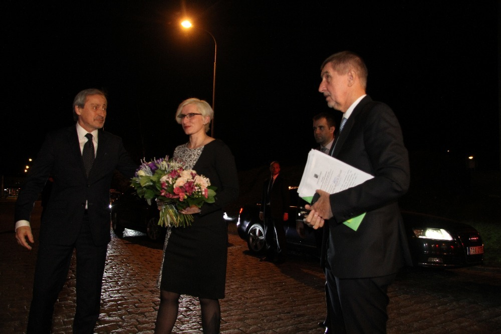 Minister of Defence Karla Slechtova arriving at the ministry (Martin Stropnicky left and Andrej Babis right)