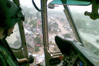 W-3A pilot prioritises for rescue from a flooded town (Floods 2010)