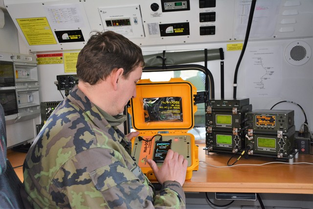 A specialist during real-time monitoring inside the radiation response vehicle
