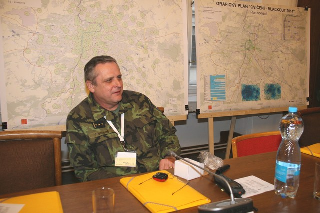 Colonel Petr Gajdos, Director of the Regional Military Command Prague, in a session of the crisis management staff
