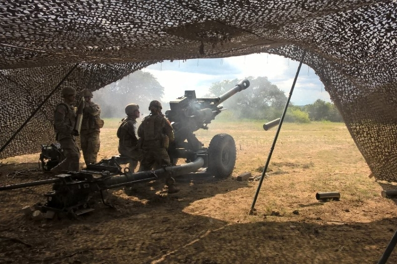 Live-firing from a 105mm towed howitzer