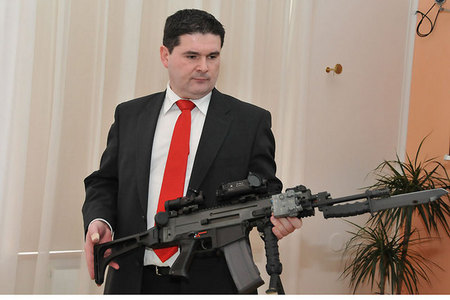 Technical Manager of Ceska zbrojovka Radek Haverland presents the assault rifle BREN 805