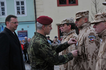 General Petr Pavel with Petr Necas hand over the badges of honour