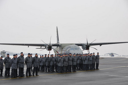 Personnel of the 24 Air Transportation Base at Prague-Kbely in front of a CASA