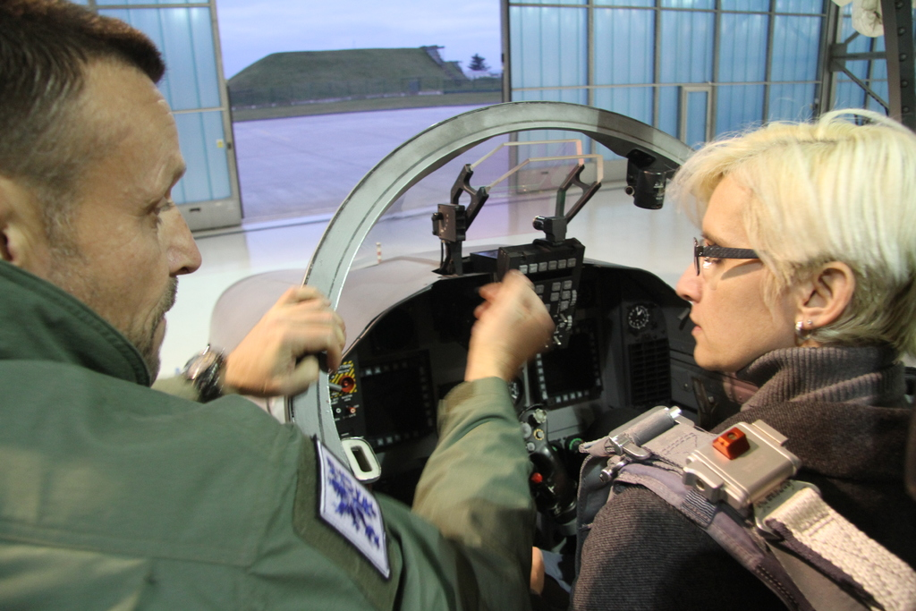 Minister Slechtova in the pilot seat of the L-159 aircraft