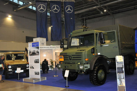 Mercedes Benz exhibits military vehicles