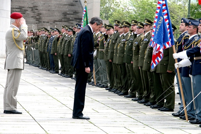 Minister of Defence Martin Stropnicky saluting the units' line-up at Vitkov Memorial