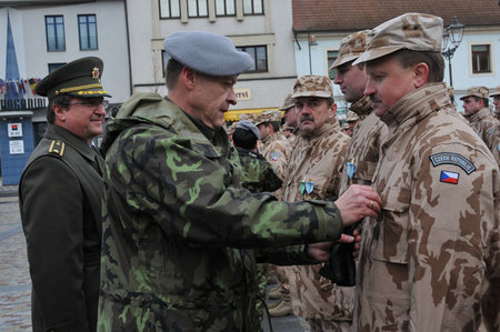 General Pavel Adam, Support Forces Commander and General Bozetech Jurenka, Military Medical Service Chief, hand over medals