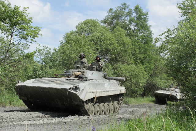 BMP-2 infantry fighting vehicles acting as the enemy