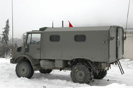 Belgian forward air controllers are in contact with Czech aircraft from this Mercedes van