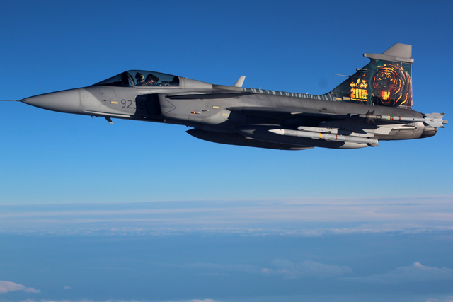 The SAAB-39 Gripen patrolling over Iceland