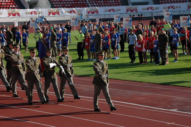 Unit of the Honour Guard opens the event with Czech National Flag